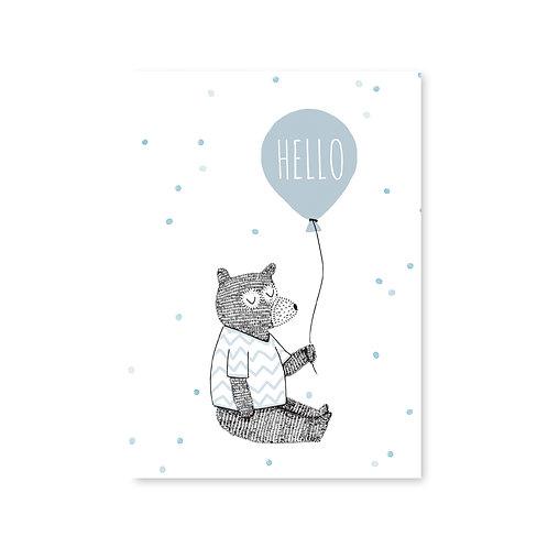 Ansichtkaart beer met ballon | A6 | 4 stuks