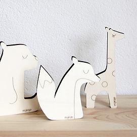 mijksje-houten diertjes-beer-giraffe-vos