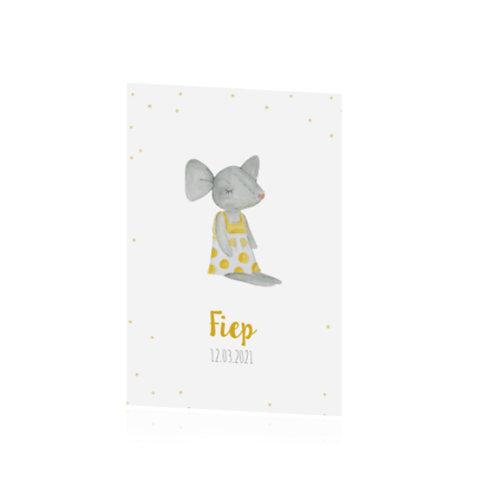 geboortekaartje met muisje en geel jurkje