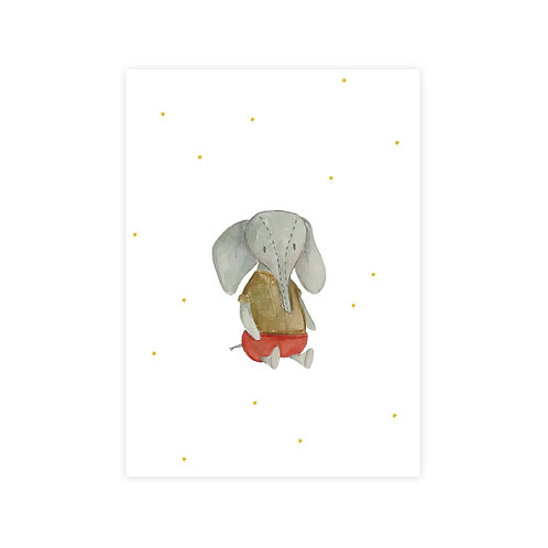 Ansichtkaart olifant waterverf | A6 | 4 stuks