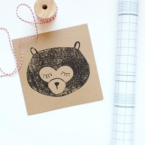 kaart beer lino | 4 stuks
