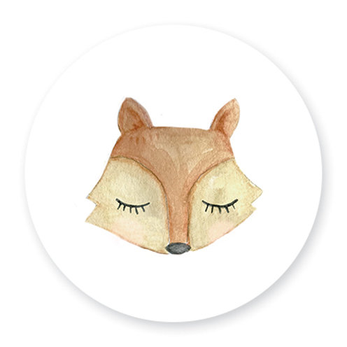 Sluitsticker vos waterverf | 48 stuks