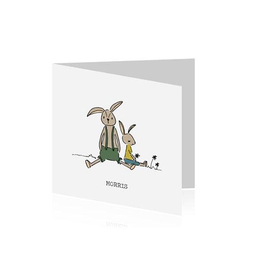 geboortekaartje twee konijntjes in kleur