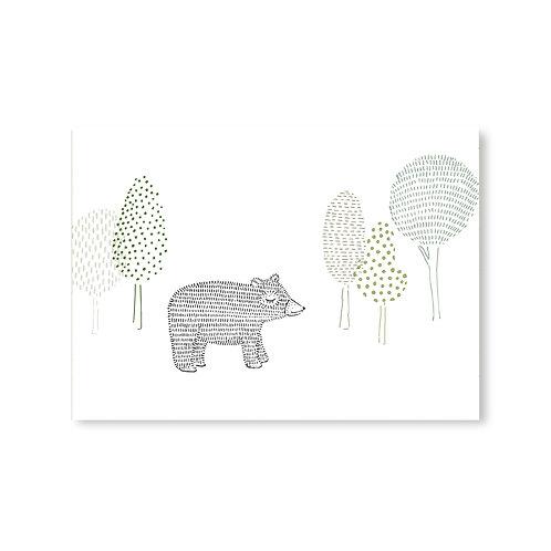 Ansichtkaart beer in bos | A6 | 4 stuks