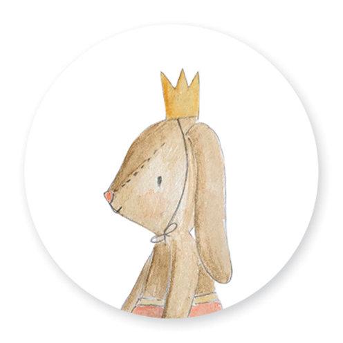 Sluitsticker konijn kroon | 48 stuks