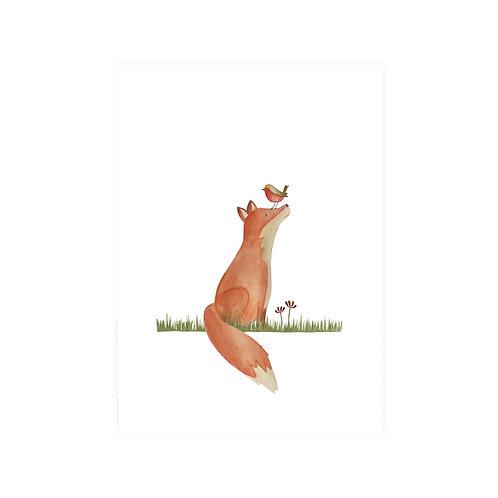 Poster vos en vogel