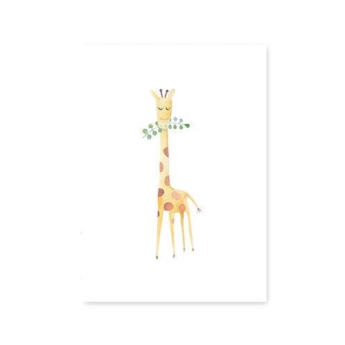 Ansichtkaart 'waterverf giraffe'