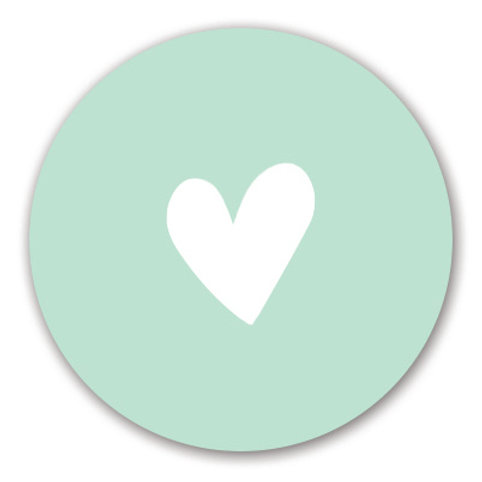 Sluitsticker hart-mint | 48 stuks