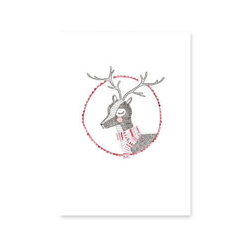 Ansichtkaart 'kerst-hert'