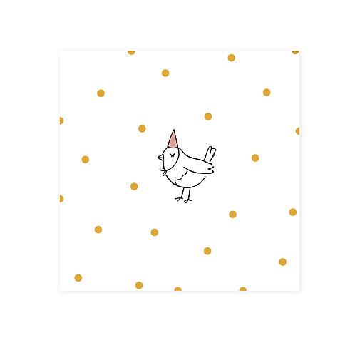 Wenskaarten feest-vogel | incl. envelop | 4 stuks