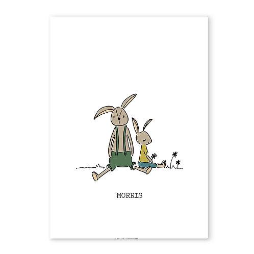 Geboorteposter konijn tuinbroek