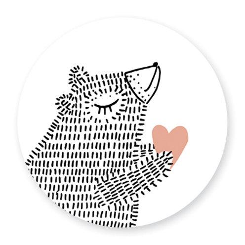 Sluitsticker beer-hart | 48 stuks