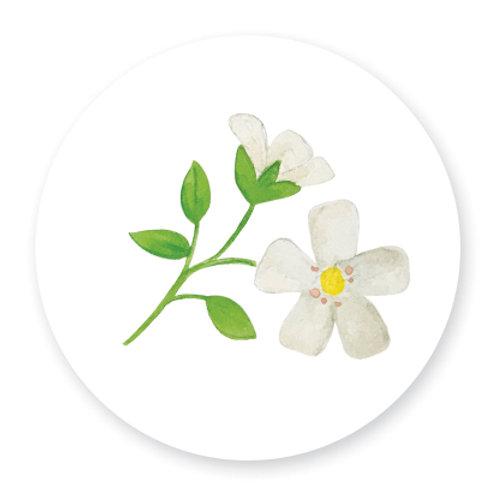 Sluitsticker bloem wit | 48 stuks