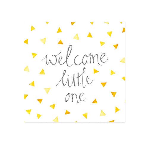 wenskaart 'welcome' okergeel
