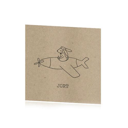 geboortekaartje vliegtuig konijn pentekening