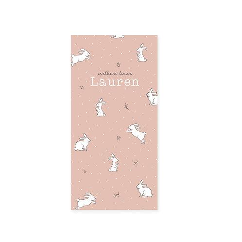 Geboortekaartje roze met konijntjes