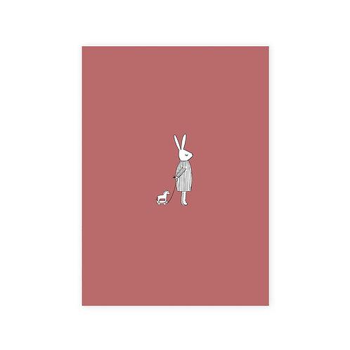 Ansichtkaart 'haas roze'