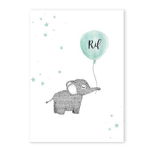 Geboorteposter olifant ballon