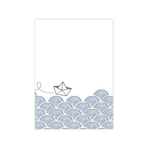 Ansichtkaart 'boot op zee'
