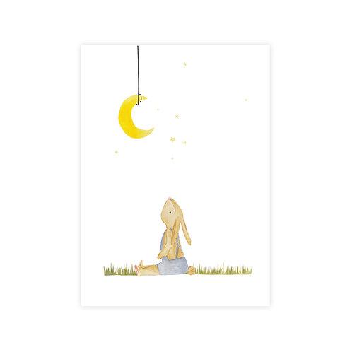 Ansichtkaart konijn maan | A6 | 4 stuks