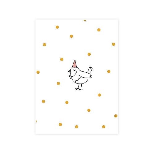 Ansichtkaart vogel met feestmuts