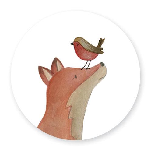 Sluitsticker vos-vogel | 48 stuks