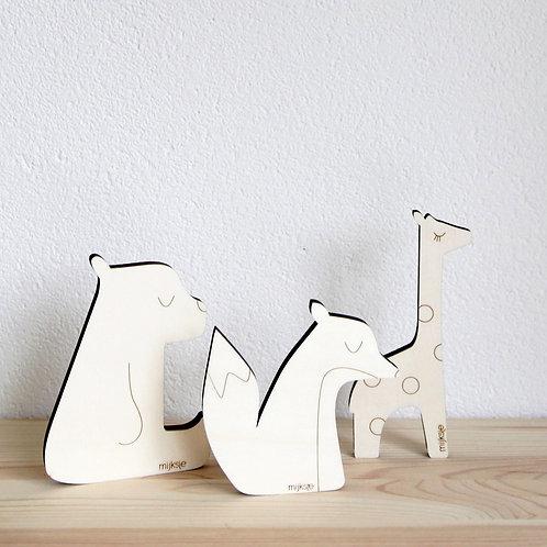 set 3 houten dieren
