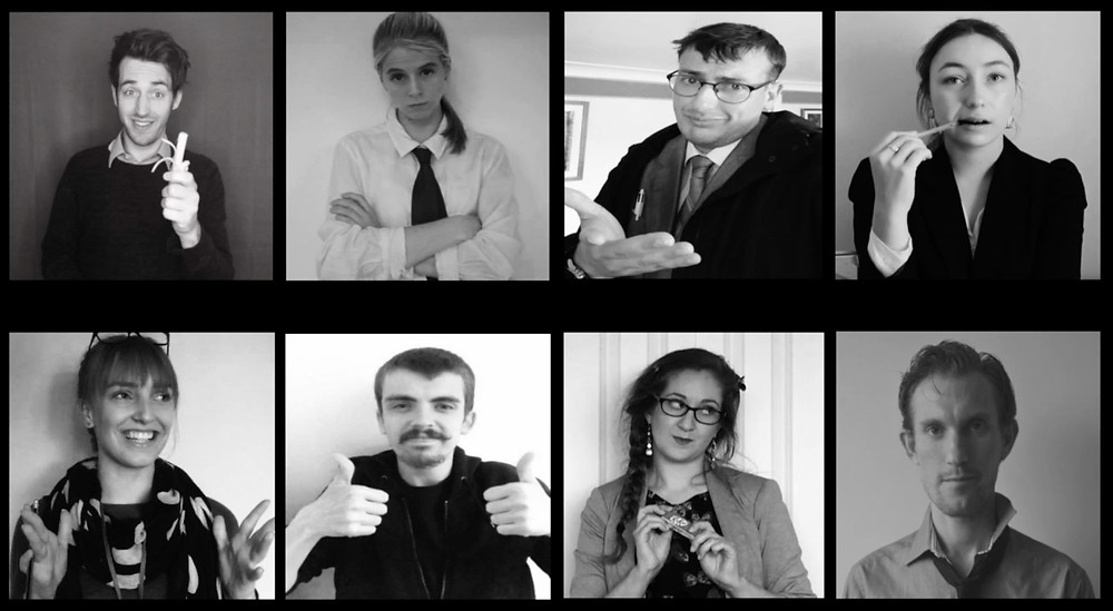 Clockwise from top left: Henry Charnock as Tobias, Fleur Moore as Emily, Ollie Fry as Hugh, Hannah Stedman as Louise, Andrew Butcher as Paul, Anna Mallard as Donna, Dee-Jay Lane as Tim, Susy Nutt as Sue