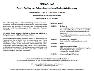 Einladung zum 1. Fachtagdes Behandlungsverbundes Baden-Württemberg