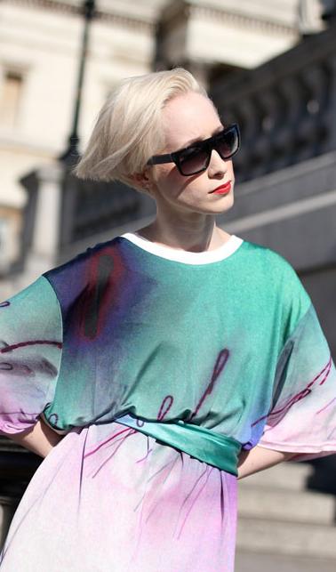 Luxury Silk Jersy T-shirt with Digital Print Design By Annarita Melina