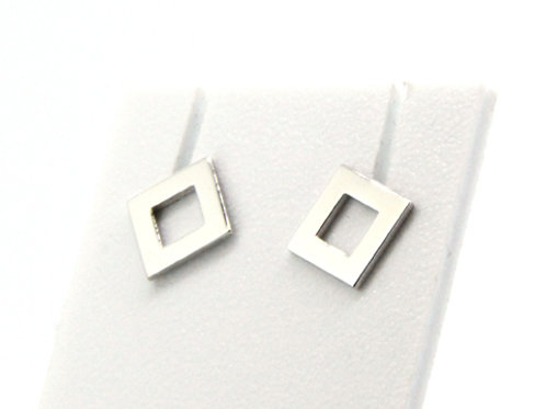 Boucles d'oreilles carré évidé or blanc