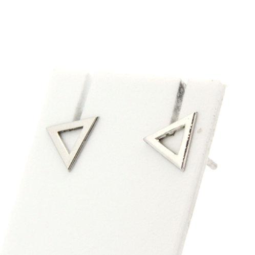 Boucles d'oreilles grand triangle évidé or blanc