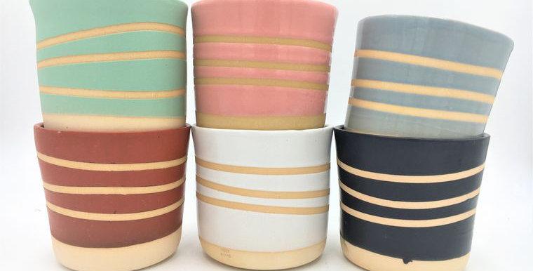 Handmade Ceramic Banded Planter/Plant Pot