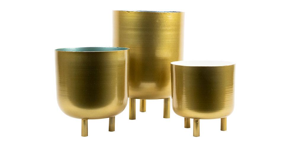 Modern Brass Planters set of 3