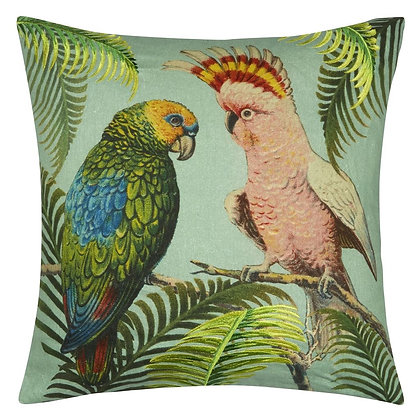 Parrot And Palm Azure | Kudde | John Derian for Designers Guild