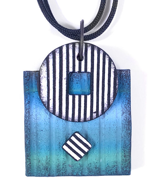 Blue Square Pendant with Striped Circle and Square