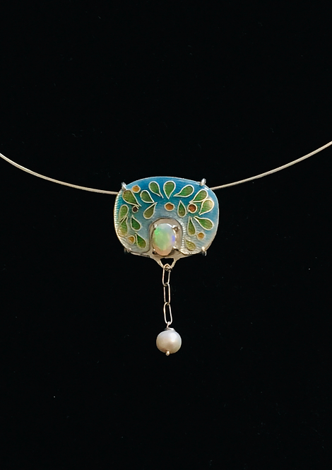 Iridescence  Enamel Pendant With Opal And Freshwater Pearls
