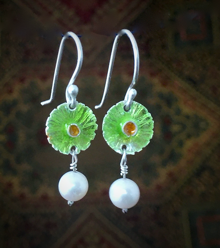 Enamel Flower Earrings with Freshwater Pearls
