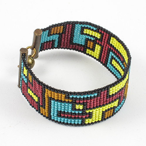 Five-Color Collage Beaded Bracelet