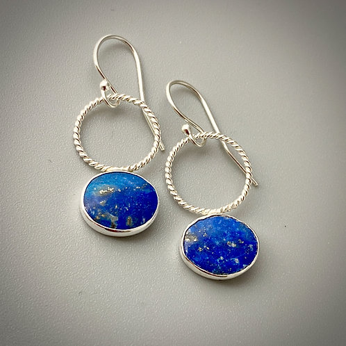 Sterling silver, lapis cabs