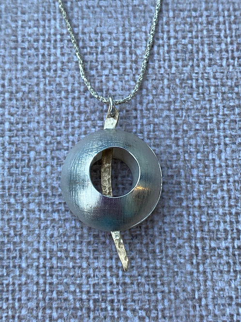 Sterling Silver Pendant With Brass Detail