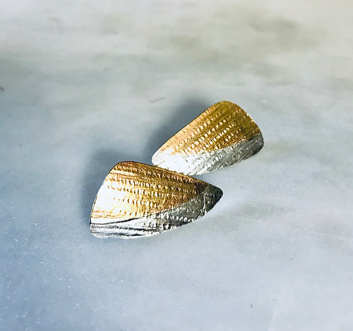 Textured Sterling Silver And Brass Mixed Metal Studs