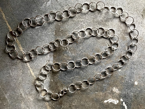 Argentium Silver, Forged Chain Necklace, Sterling Clasp
