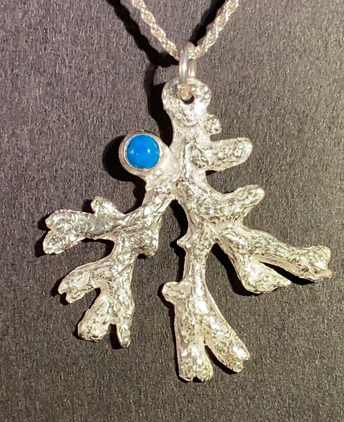 Fine Silver Hand Molded Coral and Turquoise Cabochon