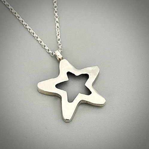 Sterling silver, chain and two sided sterling star