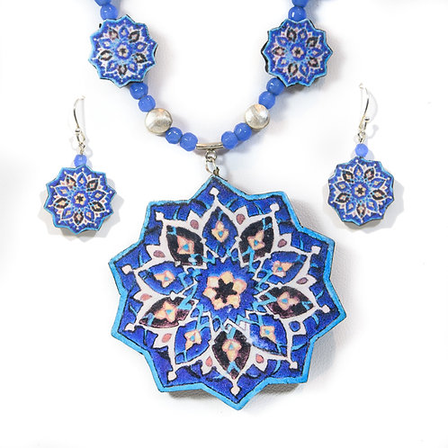 Large Persian Tile Necklace and Earring Set
