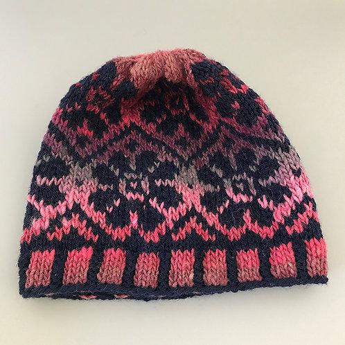 Pink & Navy Fairisle Hat - XL