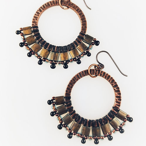 Folkloric Fan Beaded Earrings