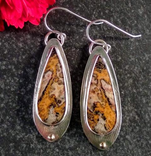 Sterling Silver, Leopardskin Jasper earrings