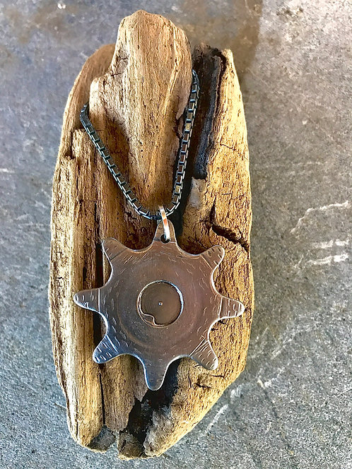 Upcycled Steel Cog, Oxidized Sterling Box Chain